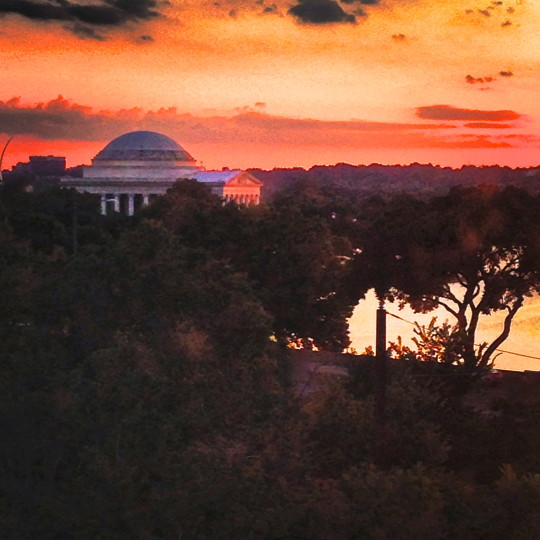 Jefferson Memorial at sunset from our hotel window