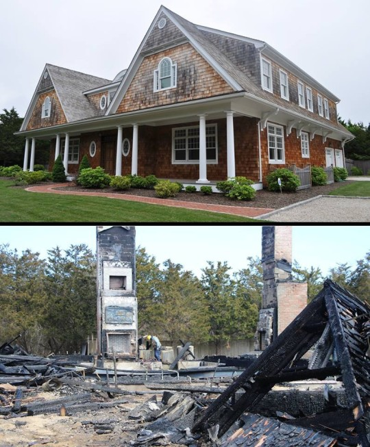 Our beach house, before and after the devastating fire