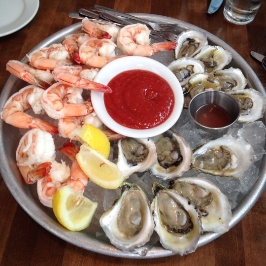 Ice-cold freshly-shucked local oysters and scrumptious shrimp cocktail at Matunuck Oyster Bar