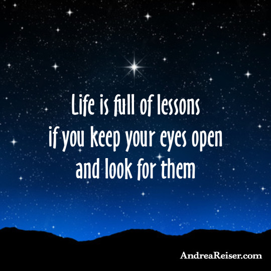 Life is full of lessons if you keep your eyes open and look for them