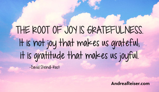 The root of joy is gratefulness. It is not joy that makes us grateful;  it is gratitude that makes us joyful.