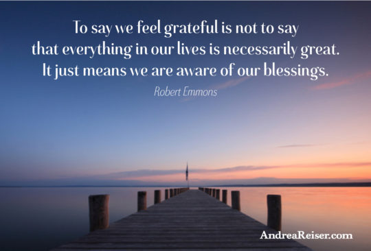 To say we feel grateful is not to say that everything in our lives is necessarily great. It just means we are aware of our blessings